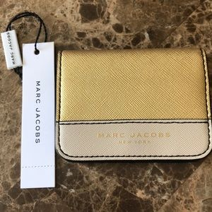 Marc Jacobs gold and cream card holder
